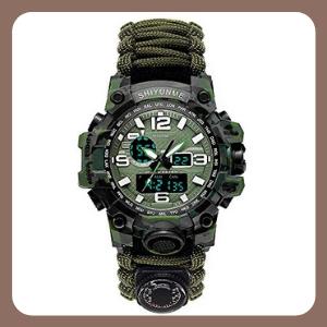 Reloj de Supervivencia BLACK MAMUT SHIYUNME Silbato, Generador de Chispa, Brújula, Digital, Iluminación, Navaja